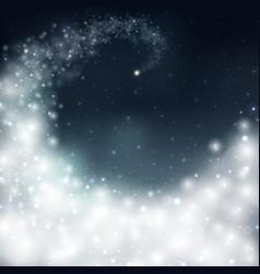 magical christmas bright white aura in dark sky vector image