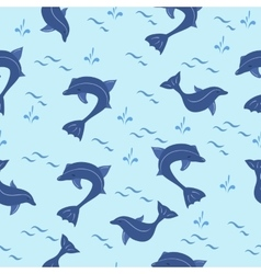 Seamless pattern with cartoon blue dolphins vector image
