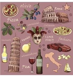 Set of Italy icons hand drawn vector image vector image
