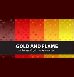 Spiral pattern set gold and flame seamless vector