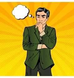 Thoughtful Businessman Pop Art vector image