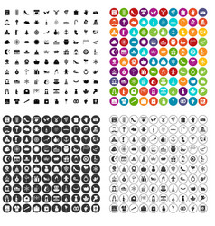 100 festive day icons set variant vector