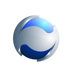 3d blue and silver sphere ecology logo template vector