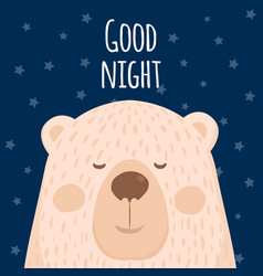 a poster of good night a cartoon bear vector image