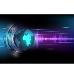 abstract global with sound wave background vector image