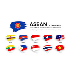 aec asean economic community flags vector image