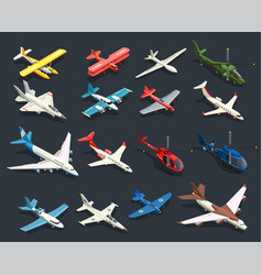 Airplanes helicopters isometric icons vector