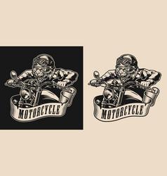 Animal biker vintage monochrome badge vector