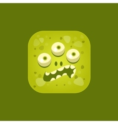 Annoyed Green Monster Emoji Icon vector image