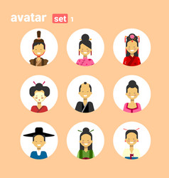 asian man and woman avatar set icon female male vector image