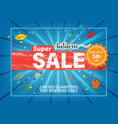 autumn super sale flyer template banner at vector image