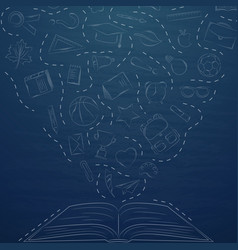 back to school doodles in chalkboard background vector image