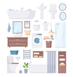Bathroom furniture set cartoon sanitary hygiene vector