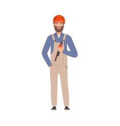 bearded repairman in gray overalls vector image