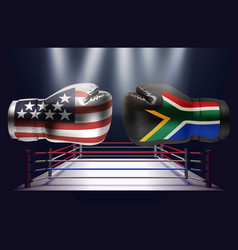 boxing gloves with prints of the usa and south vector image