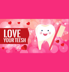 bright red banner - love your teeth healthy vector image