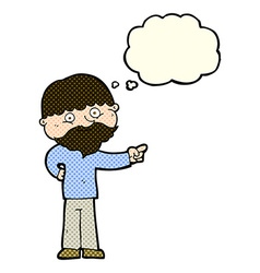 Cartoon bearded man pointing with thought bubble vector