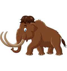 Cartoon mammoth isolated on white background vector