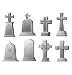 Cartoon stone grave crosses and gravestones set vector