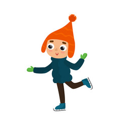 cartoon teenaged boy with winter skates vector image