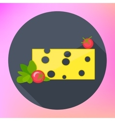 cheese piece herbs tomatoes vector image