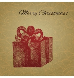 Christmas card with hand drawn gift box vector image