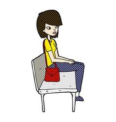 Comic cartoon woman sitting on bench vector