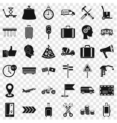 container delivery icons set simple style vector image