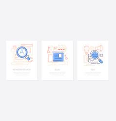 content management - line design style banners set vector image
