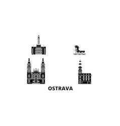 czech republic ostrava flat travel skyline set vector image