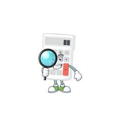 Detective cartoon calculator white for calculate vector