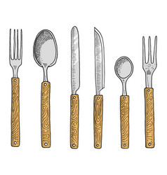 Dining or snack fork for oysters ice cream spoon vector