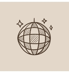 Disco ball sketch icon vector