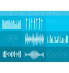 Dj sound waves set white transparent color vector