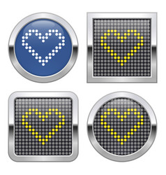 Dotted icon heart on glossy button in four vector