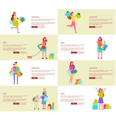 Eight pics of shopping people vector
