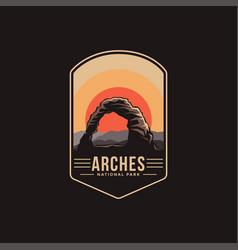 Emblem patch logo arches national park vector