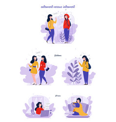 Extrovert and introvert personality types vector