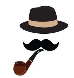 Fedora hat smoking pipe and mustache vector