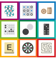 Flat icon play set of chequer arrow lottery and vector
