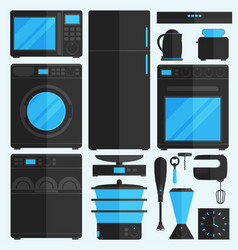 Flat icons for kitchen appliances vector