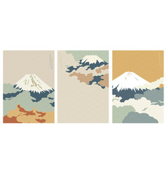Fuji mountain background with japanese wave vector