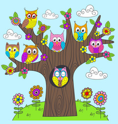 Funny owls on the tree vector