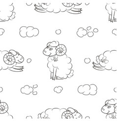 Fuzzy sheep flying in the clouds vector