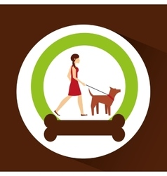 Girl walking a brown dog vector