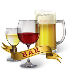 Glass goblets with wine and beer and ribbon with vector