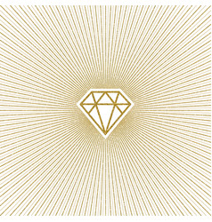 glitter gold shining diamond with sunburst vector image