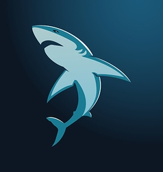 Great white shark sign logo on blue background vector