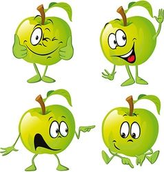 green apple cartoon with hand vector image vector image