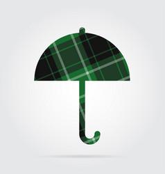 Green black tartan isolated icon - umbrella vector